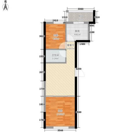 东逸美郡2室1厅1卫1厨63.00㎡户型图