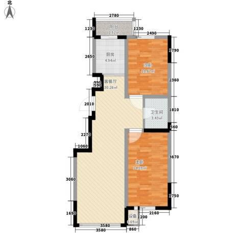 东逸美郡2室1厅1卫1厨96.00㎡户型图
