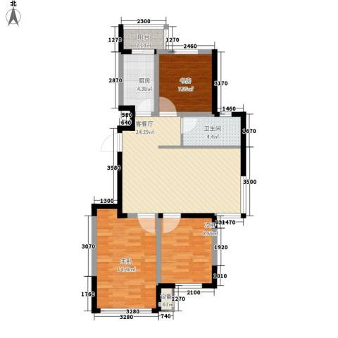 东逸美郡3室1厅1卫1厨97.00㎡户型图