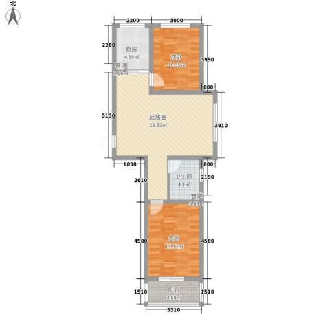 天鸿尚都2室0厅1卫1厨63.10㎡户型图