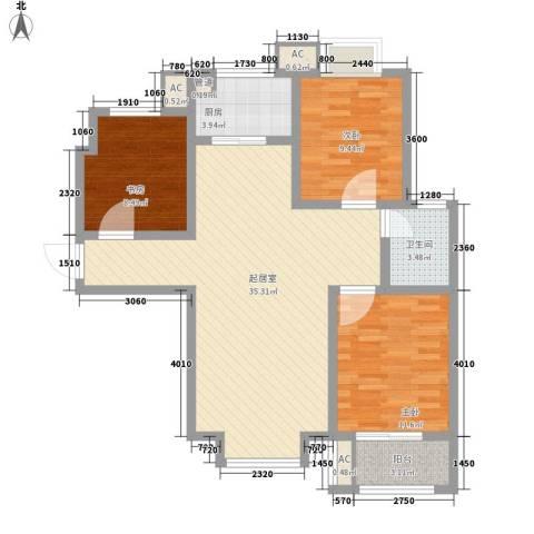 北斗星城东区・御府3室0厅1卫1厨112.00㎡户型图