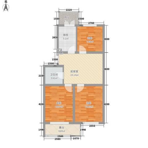 花溪林语3室0厅1卫1厨72.00㎡户型图