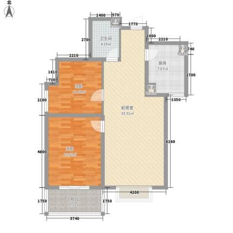 北美家园二期2室0厅1卫1厨109.00㎡户型图