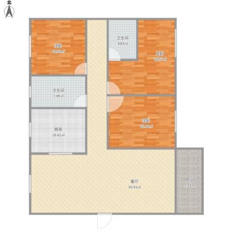 鸣翠居2期3室1厅2卫1厨168.00㎡户型图