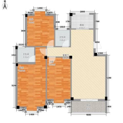 月港湾花园3室1厅2卫1厨126.00㎡户型图