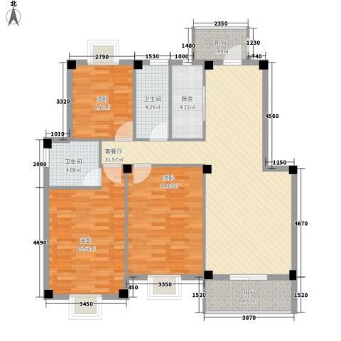 月港湾花园3室1厅2卫1厨127.00㎡户型图