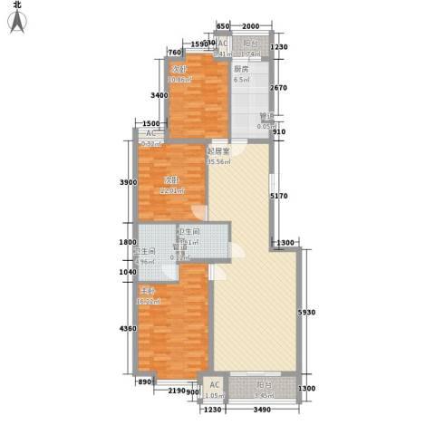 世涛天朗一期3室0厅2卫1厨96.85㎡户型图