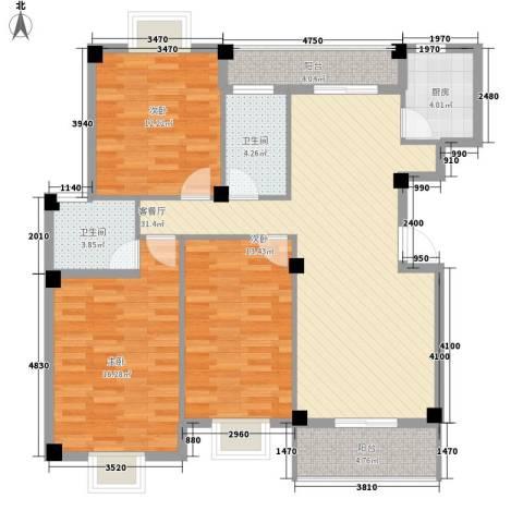 月港湾花园3室1厅2卫1厨133.00㎡户型图