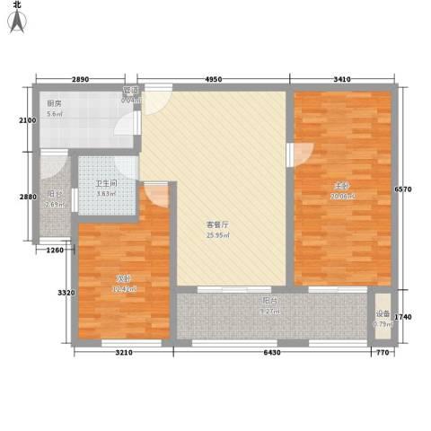 星光耀广场2室1厅1卫1厨116.00㎡户型图