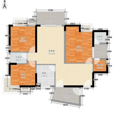 香樟国际3室0厅2卫1厨121.00㎡户型图