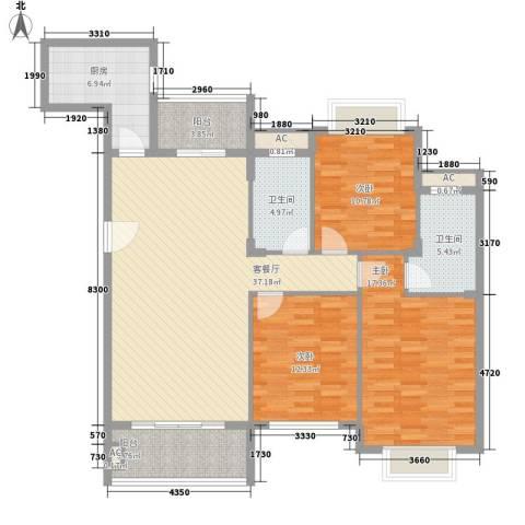 紫荆花园别墅3室1厅2卫1厨120.00㎡户型图