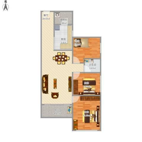 唯美嘉园3室1厅1卫1厨100.00㎡户型图