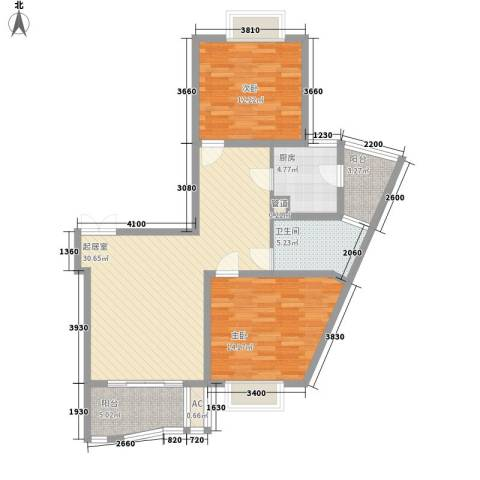 中虹明珠苑2室0厅1卫1厨111.00㎡户型图