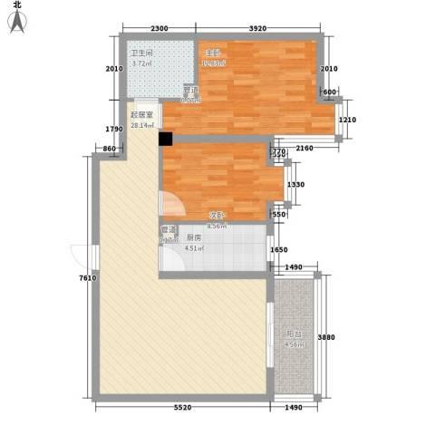 鑫源名居2室0厅1卫1厨91.00㎡户型图