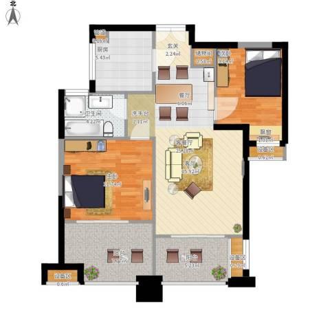 绿地海域苏河源2室1厅1卫1厨101.00㎡户型图