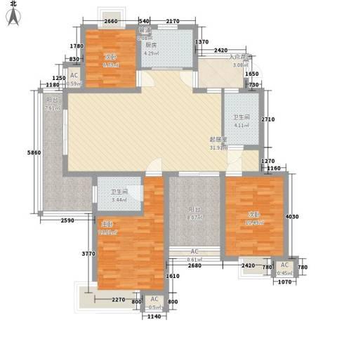香城花园三期3室0厅2卫1厨140.00㎡户型图