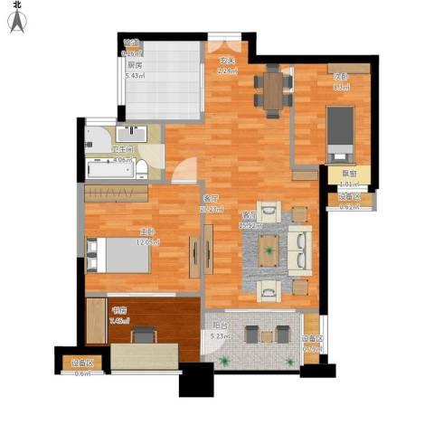 绿地海域苏河源3室1厅1卫1厨101.00㎡户型图