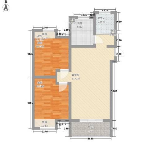 景华城2室1厅1卫1厨64.23㎡户型图