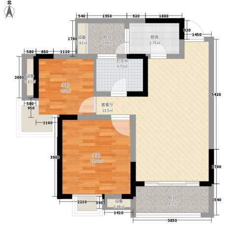 新城绿园2室1厅1卫1厨70.99㎡户型图