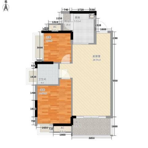 鼎峰尚境别墅2室0厅1卫1厨95.00㎡户型图