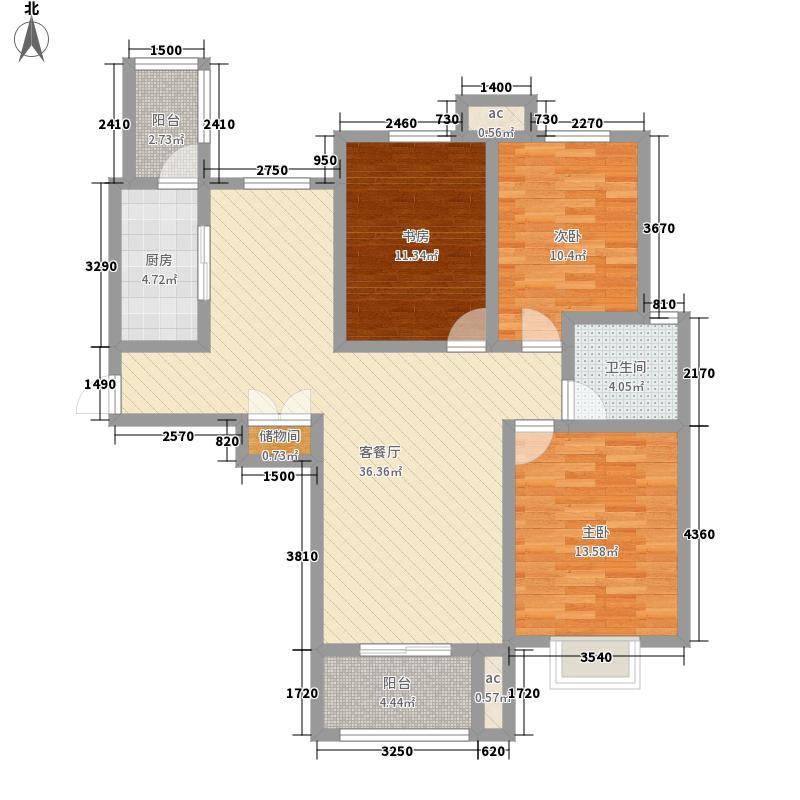盛世御城126.71㎡二期标准层B02户型3室2厅1卫1厨