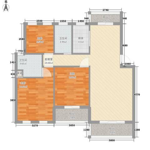 竹苑小区3室0厅2卫1厨109.00㎡户型图