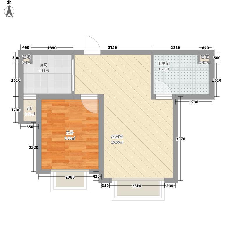 威百望海园58.57㎡户型1室2厅1卫1厨
