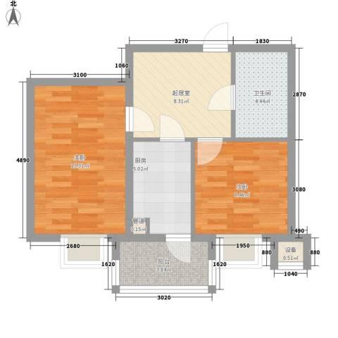 阳光绿景2室0厅1卫1厨64.00㎡户型图