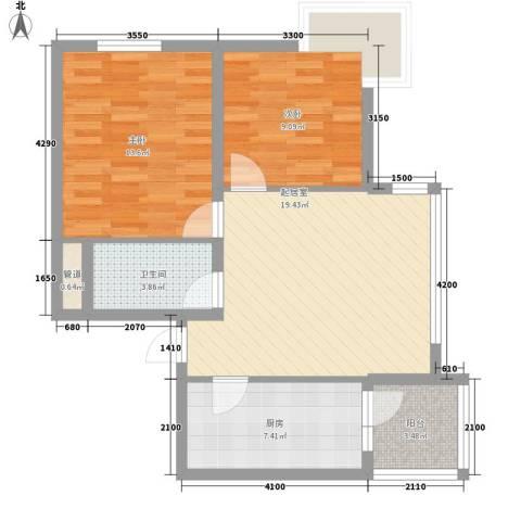 阳光绿景2室0厅1卫1厨82.00㎡户型图