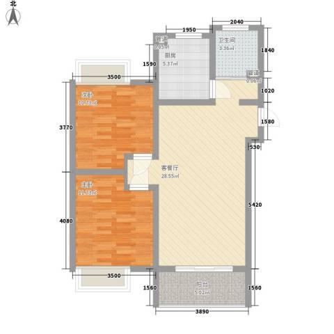 景华城2室1厅1卫1厨94.00㎡户型图