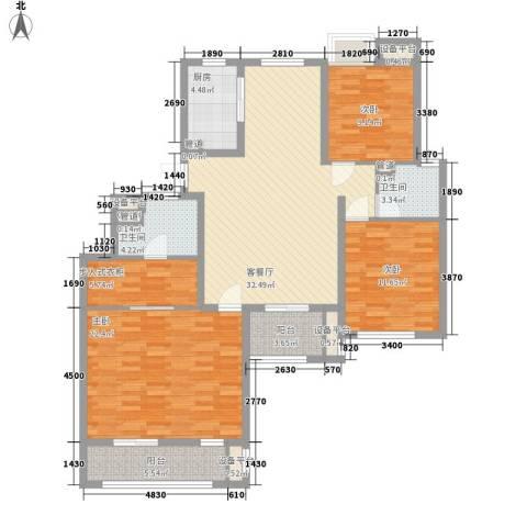 金鼎湾国际3室1厅2卫1厨151.00㎡户型图