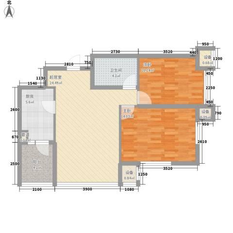 阳光绿景2室0厅1卫1厨93.00㎡户型图