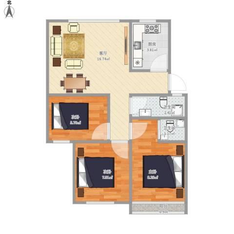 金色港湾3室1厅2卫1厨64.00㎡户型图