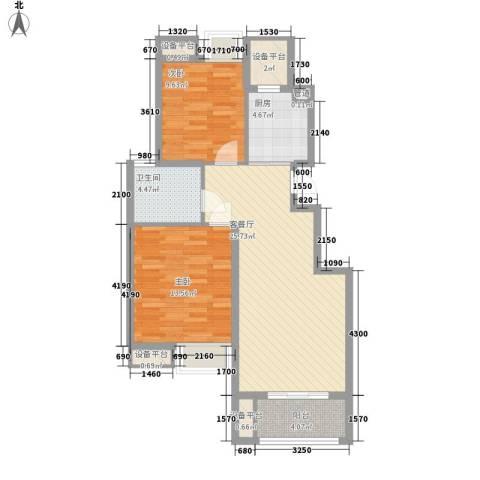 金鼎湾国际2室1厅1卫1厨93.00㎡户型图