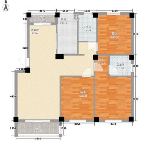 美中城3室1厅2卫1厨126.00㎡户型图