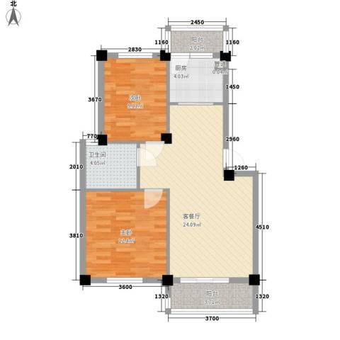 美中城2室1厅1卫1厨86.00㎡户型图