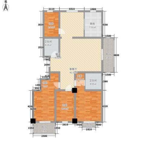 陵川信合苑4室1厅2卫1厨155.00㎡户型图