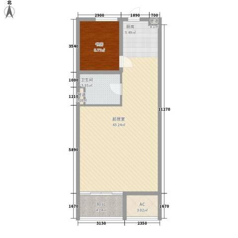 中信太湖城1室0厅1卫0厨92.00㎡户型图