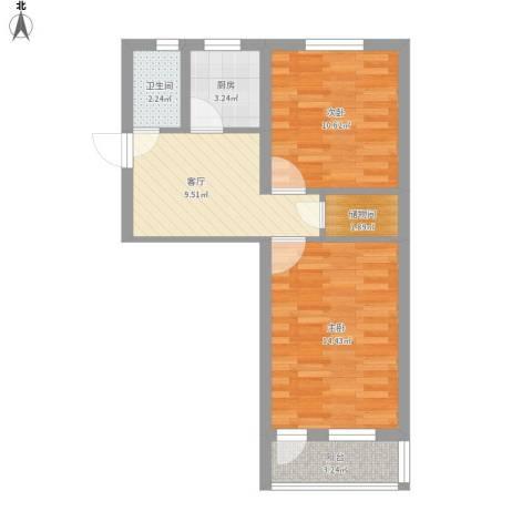 曹张新村2室1厅1卫1厨58.00㎡户型图