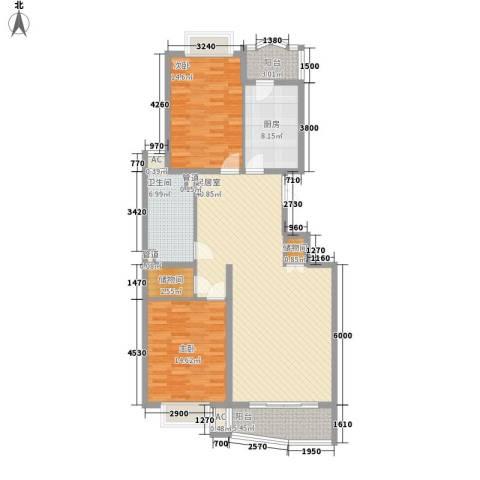 中虹明珠苑2室0厅1卫1厨125.00㎡户型图