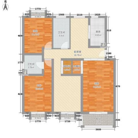 安康新村3室0厅2卫1厨137.00㎡户型图