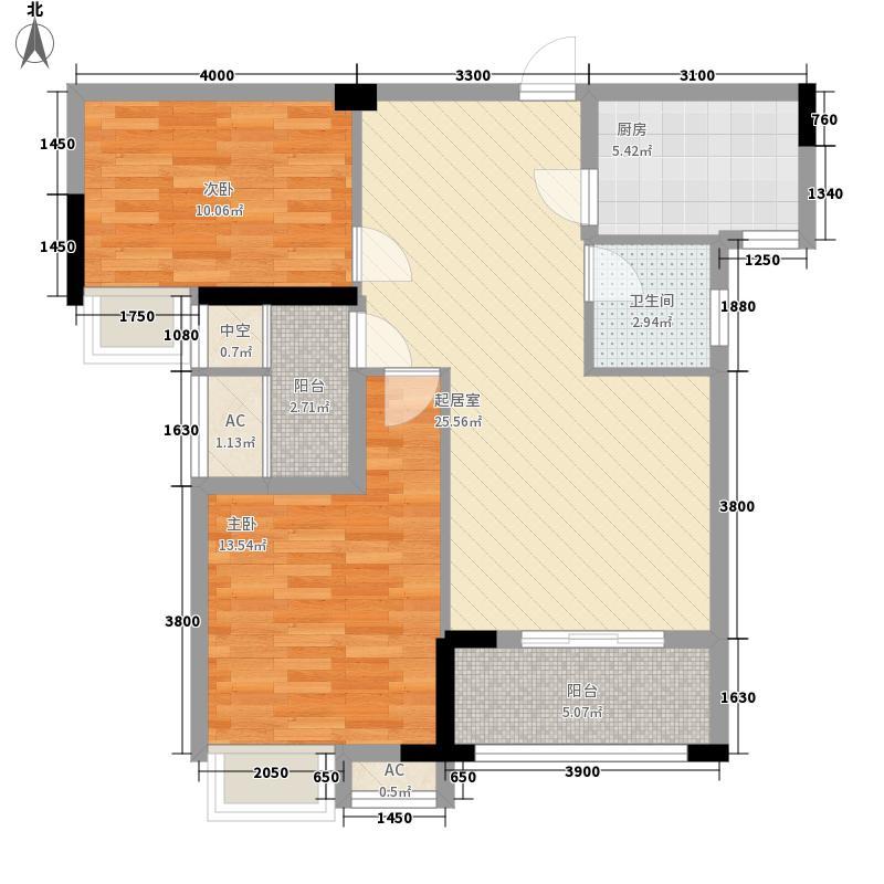 水域天际三期88.00㎡水域天际三期户型图C2户型2室2厅1卫1厨户型2室2厅1卫1厨
