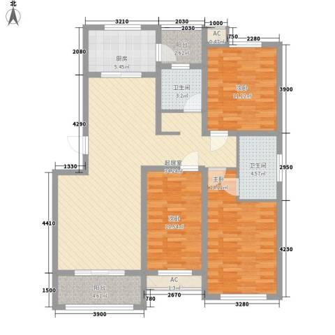 未来城3室0厅2卫1厨134.00㎡户型图