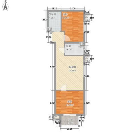 建工・郭庄家园2室0厅1卫1厨63.64㎡户型图