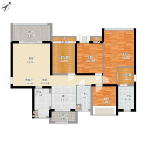 明景・江南世家3室1厅2卫1厨165.00㎡户型图
