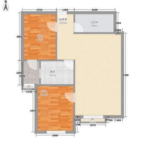 上庄・三嘉信苑2室0厅1卫1厨62.02㎡户型图