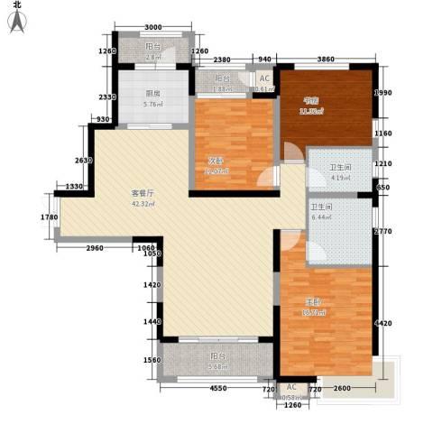 高新华府3室1厅2卫1厨155.00㎡户型图
