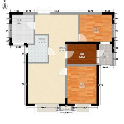高新华府3室1厅1卫1厨104.00㎡户型图