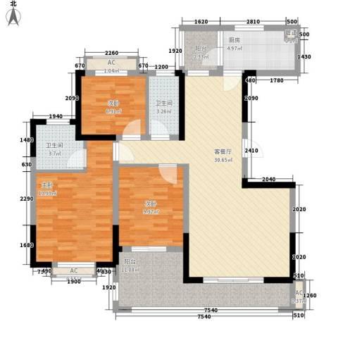 广弘城国际社区3室1厅2卫1厨103.56㎡户型图