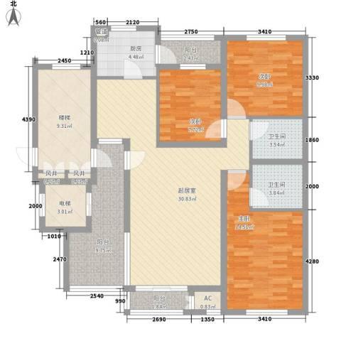 珠江国际城别墅3室0厅2卫1厨150.00㎡户型图